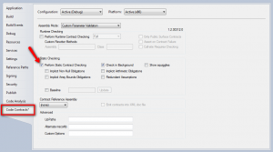 Code Contracts Properties screen for Visual Studio.